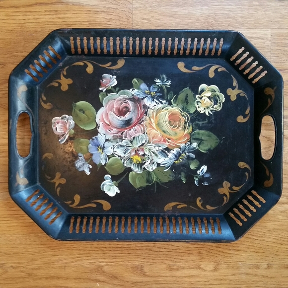 VINTAGE TOLE HAND PAINTED BLACK FLORAL METAL TRAY